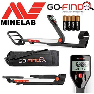 MINELAB go-find 20 Detector de metales con bobina de impermeable, bolsa de transporte y pilas
